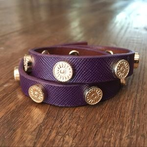 Tory Burch Leather Studded Wrap Bracelet